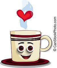 schattig, koffie, model, karakter, mok, gestreepte , spotprent