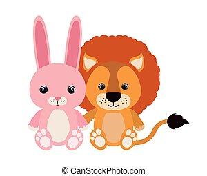 schattig, konijn, leeuw, weinig; niet zo(veel)