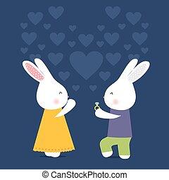 schattig, konijnen, kaart, huwen, ring, liefde