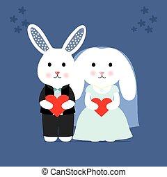 schattig, konijntje, trouwfeest