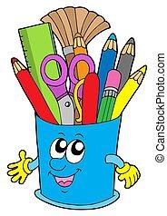 schattig, kop, met, crayons