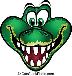 schattig, krokodil, mascotte