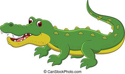 schattig, krokodil, spotprent