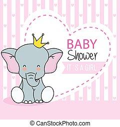 schattig, kroon, elefant