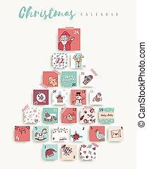 schattig, kunst, advent, kerstmis, kalender, vakantie, spotprent