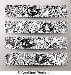 schattig, kunstenaar, hand, vector, ontwerp, doodles, getrokken, banieren, spotprent