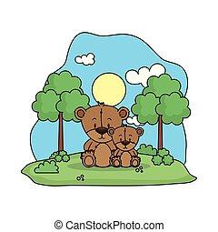 schattig, landscape, beer, gezin, teddy