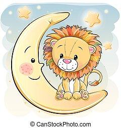 schattig, leeuw, spotprent, maan