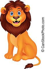 schattig, leeuw, spotprent, zittende