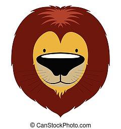 schattig, leeuw, vrijstaand, avatar