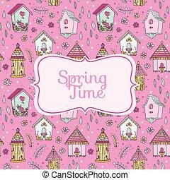 schattig, lente, -, huisen, vector, tijd, vogel, kaart
