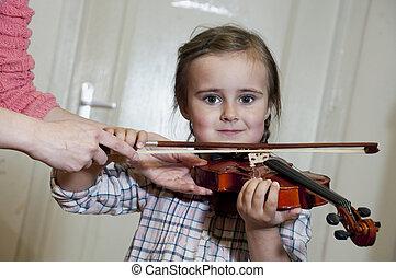 schattig, leren, viool, meisje, spelend, preschool