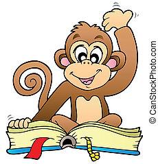 schattig, lezende , aap, boek