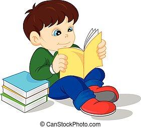 schattig, lezende , boekjes , jongen