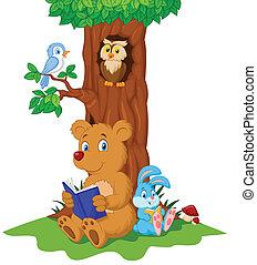 schattig, lezende , dieren, spotprent, boek