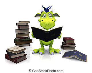 schattig, lezende , monster, book., spotprent