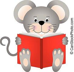 schattig, lezende , muis, boek