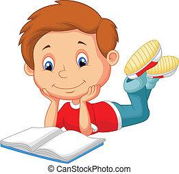 schattig, lezende , spotprent, boek, jongen