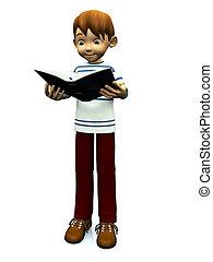 schattig, lezende , spotprent, book., jongen