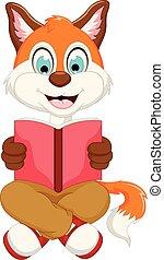 schattig, lezende , vos, boek, smart