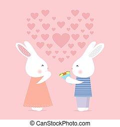 schattig, liefde, bloemen, konijntje, kaart, geeft