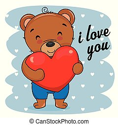 schattig, liefde, card., beer, hart