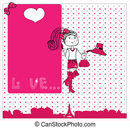 schattig, liefde, card., paris., v, meisje