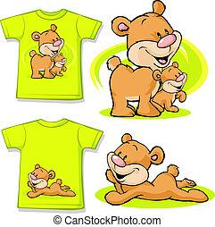 schattig, liefde, hemd, -, vrijstaand, beer, bedrukt, witte , geitje