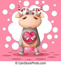 schattig, liefde, illustration., koe, balloon., lucht, hart