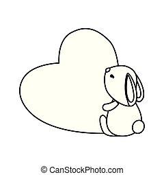 schattig, liefde, konijn, hart