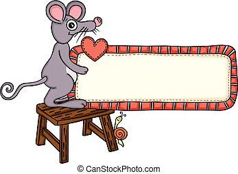 schattig, liefde, meldingsbord, vasthouden, leeg, etiket, muis