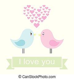 schattig, liefde, paar, illustratie, vector, vogels