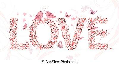 schattig, liefde, paar, vliegen, vlinder, vogels