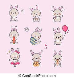 schattig, liefde, sticker, komisch, emoji, kawaii, gekke , aanhalen, set., karakter, gevarieerd, dier, konijntje, plat, symbool, illustratie, uitrusting, verzameling, konijn, children., spotprent, doodle., gezicht, vector, anime, tekening