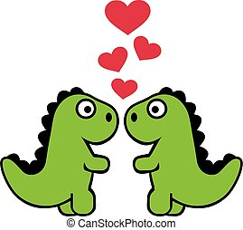 schattig, liefde, twee, tyrannosaurus