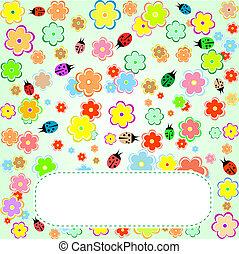 schattig, liefde, valentijn, bloemen, vogels, kaart