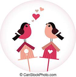 schattig, liefde, zittende , -, vector, retro, birdhouses, vogels