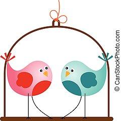 schattig, liefdevogels, valentijn
