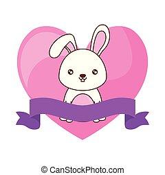 schattig, lint, konijn, hart