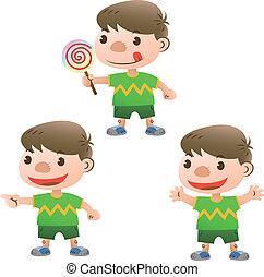 schattig, lollipop, acties, jongen