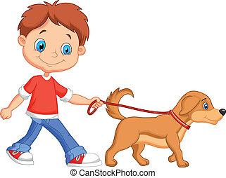 schattig, lopende met hond, spotprent, jongen