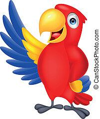 schattig, macaw, vogel, zwaaiende