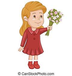 schattig, meisje, bloemen, illustratie