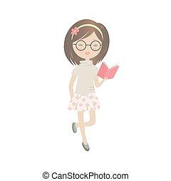 schattig, meisje, boek, lezende , spotprent