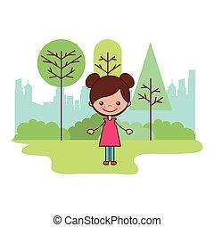 schattig, meisje, de stad van het park