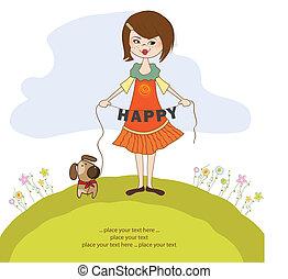 schattig, meisje, dog, vrolijke