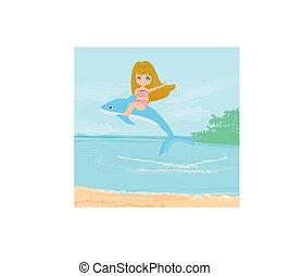 schattig, meisje, dolfijn, paardrijden