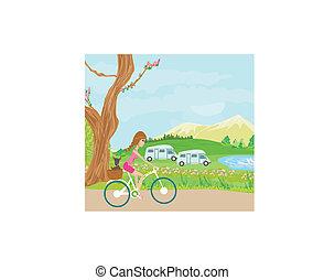 schattig, meisje, fiets, geleider, vrolijke