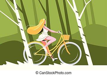 schattig, meisje, fiets helpend