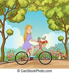 schattig, meisje, fiets, park, paardrijden